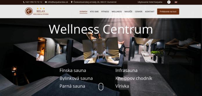 nová firemná webstránka pre wellness centrum