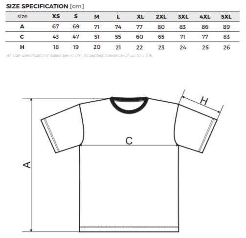 rozmery tričiek BASIC contentpress