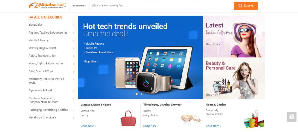 Alibaba B2B web stránka