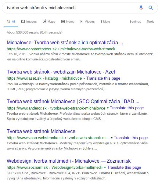 tvorba web stránok v Michalovciach