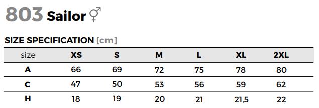 tričko sailor - tabuľka veľkostí